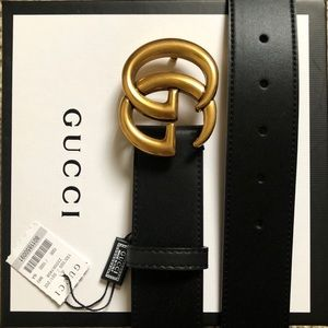 New Gucci Gold Logo Double GG Buckle Belt With Tag